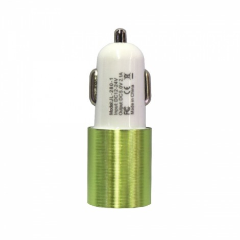 Dual USB 2.1A 12-24V Screw Groove Section Style Car Charger Green