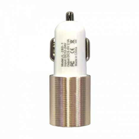 Dual USB 2.1A 12-24V Screw Groove Section Style Car Charger Golden