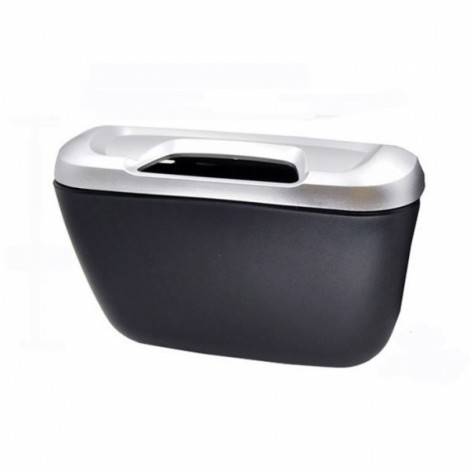 Flip Opening Type Mini Car Garbage Can Auto Rubbish Trash Can Dust Scraps Paper Case Holder Bin Vehicle Organizer Silver