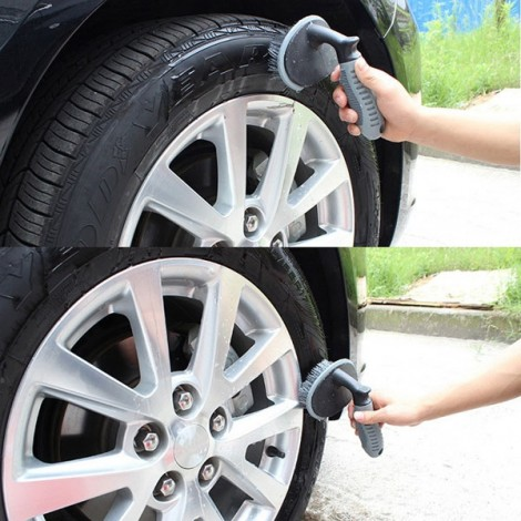 T-type Multifunctional Specialized Car Wheel Scrubber Brush Gray