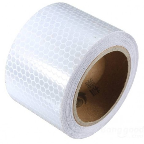 Reflective Safety Warning Tape Film Sticker for Cars Motorcycles Vehicles 3m*5cm White