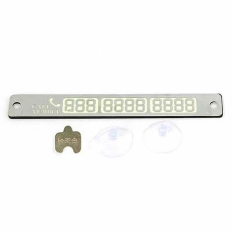 Luminous Temporary Car Parking Phone Number Card Plate with Suction Cups 15*2cm Silver