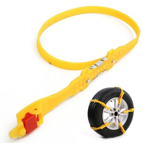 1pcs Tendon Rubber Tire Anti-skid Belt Snow Chain for Car SUV Truck Yellow