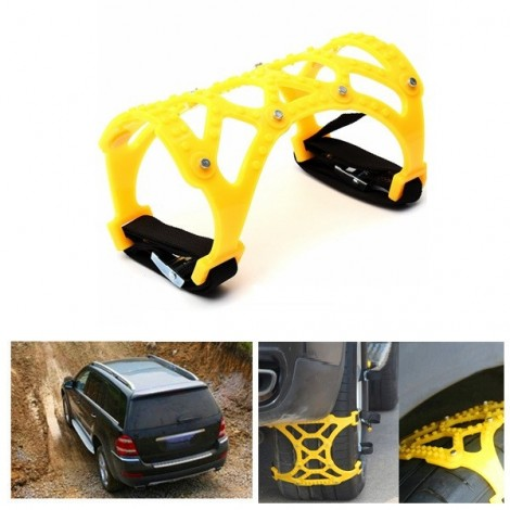 165-265mm Tire Anti-skid Belt Snow Chain Dual Hook for Car SUV Truck Yellow