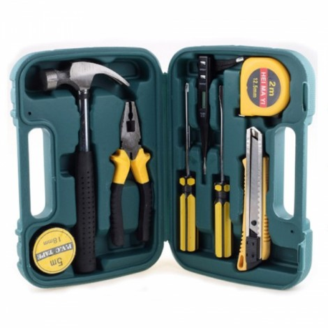 9pcs/Set Combination Suit Maintenance Tools Practical Toolbox Household Hardware Hand Tools Green