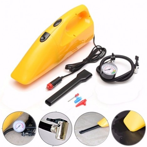 2-in-1 Portable 12V 90W Car Wet and Dry Vacuum Cleaner Tire Inflator Pump Air Compressor Yellow