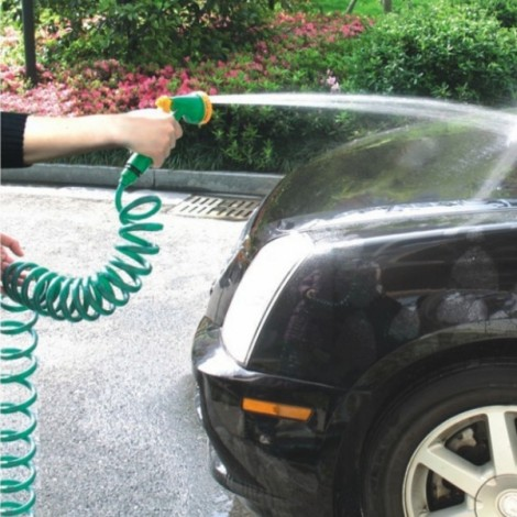 Car Wash 10M High-pressure Telescopic Spring Water Gun Green