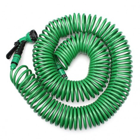 15M EVA Coiled Stretch Down Garden Hose with Nozzle Green