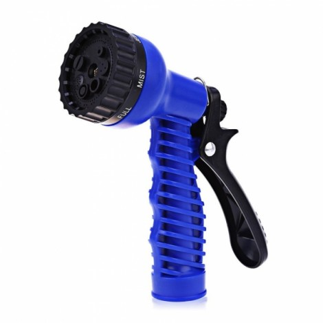 Adjustable 7 Pattern Garden Water Gun Hose Plastic Watering Nozzle Blue