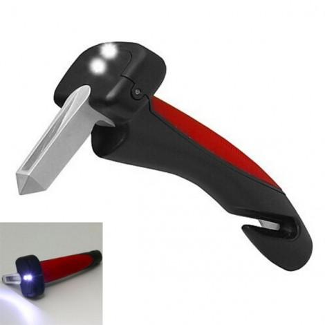 Mini LED Emergency Escape Hammer with Window Breaker & Seat Belt Cut