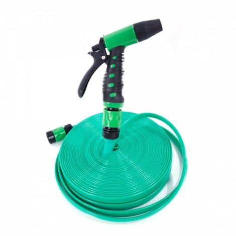 30m PVC Hose Water Pipe Spray Nozzle for Garden Car Wash Micro Drip Irrigation Green