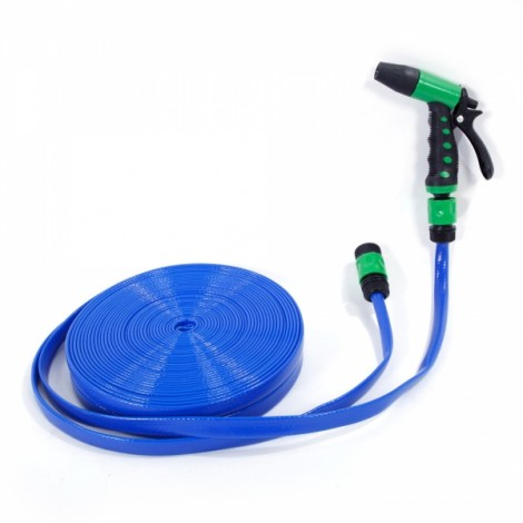 30m PVC Hose Water Pipe Spray Nozzle for Garden Car Wash Micro Drip Irrigation Blue