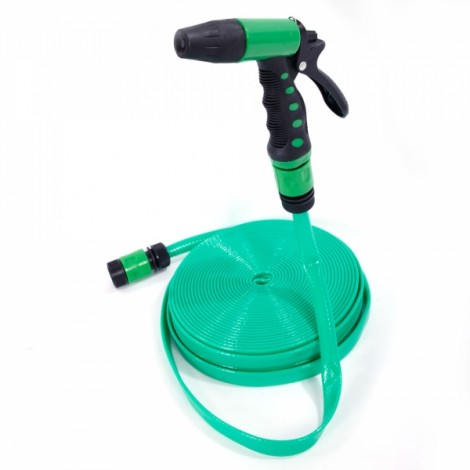 20m PVC Hose Water Pipe Spray Nozzle for Garden Car Wash Micro Drip Irrigation Green