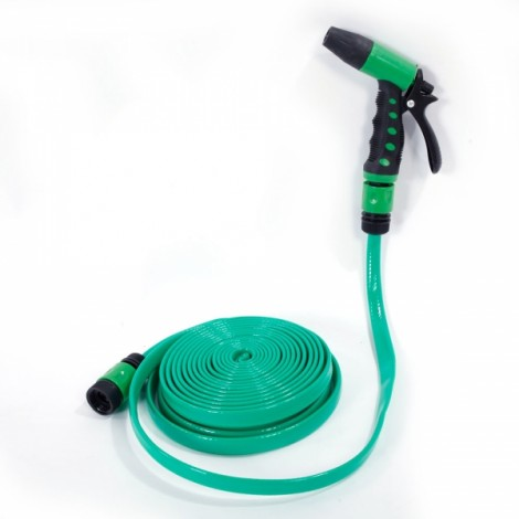 10m PVC Hose Water Pipe Spray Nozzle for Garden Car Wash Micro Drip Irrigation Green