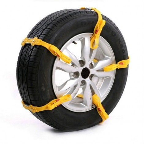 Reusable 5pcs Tendon Rubber Tire Anti-skid Belt Snow Chain for Car SUV Truck Yellow