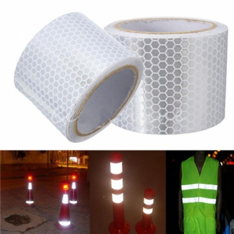 2pcs White Reflective Safety Warning Tape Film Sticker for Cars Motorcycles Vehicles 3m*5cm