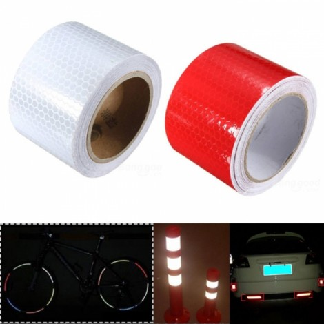 2pcs White & Red Reflective Safety Warning Tape Film Sticker for Cars Motorcycles Vehicles 3m*5cm