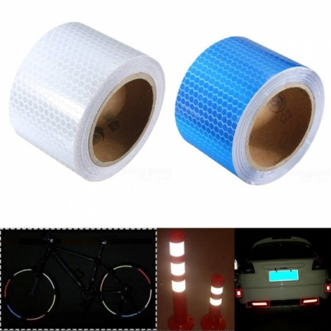 2pcs White & Blue Reflective Safety Warning Tape Film Sticker for Cars Motorcycles Vehicles 3m*5cm