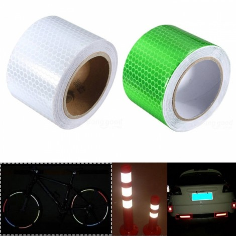 2pcs White & Green Reflective Safety Warning Tape Film Sticker for Cars Motorcycles Vehicles 3m*5cm