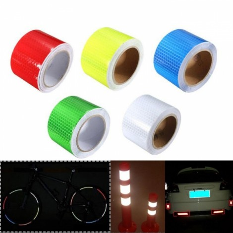 5pcs Reflective Safety Warning Tape Film Sticker for Cars Motorcycles Vehicles 3mx5cm Green & Blue & Red & Yellow & White