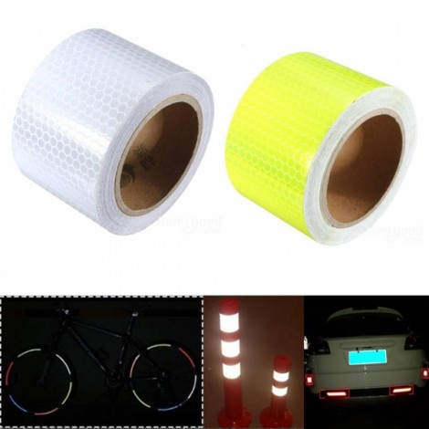 2pcs White & Yellow Reflective Safety Warning Tape Film Sticker for Cars Motorcycles Vehicles 3m*5cm