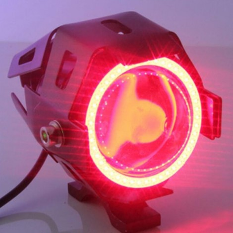U7 Waterproof Motorcycle LED Driving Fog Light Spot Headlight Red Lamplight Black