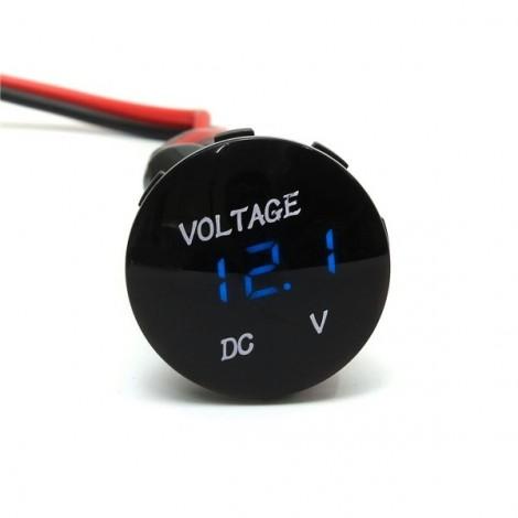 Motorcycle Car Blue LED Digital Voltmeter Waterproof Volt Panel Meter Gauge (DC 12-24V) Black
