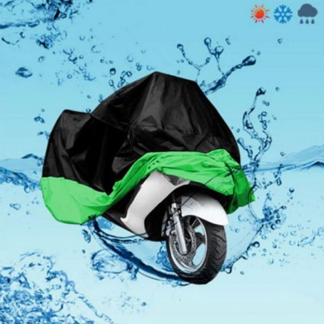 Motorcycle Bike Electric Vehicle Waterproof Cover Rain UV Dust Prevention Cover Black & Green M