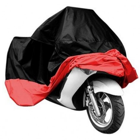 Motorcycle Bike Electric Vehicle Waterproof Cover Rain UV Dust Prevention Cover Black & Red L
