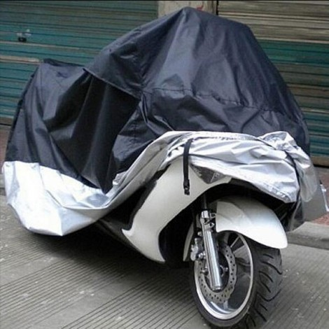 Motorcycle Bike Electric Vehicle Waterproof Cover Rain UV Dust Prevention Cover Black & Silver L