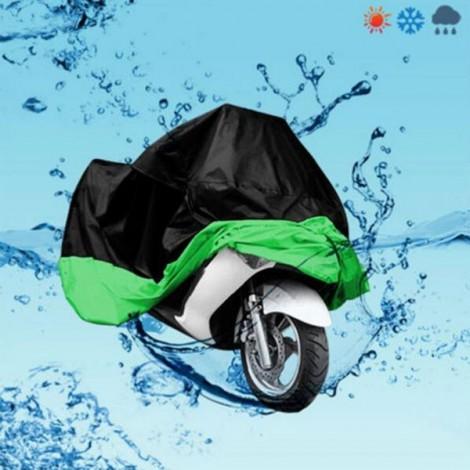 Electric Vehicle Motorcycle Bike Waterproof Cover Black & Green L