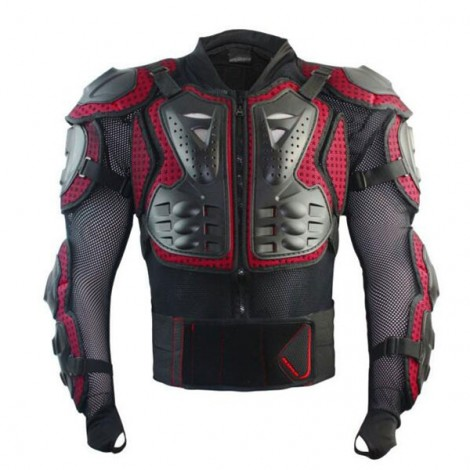 Motocross Racing Motorcycle Armor Protective Jacket Racing Body Gears Red & Black L