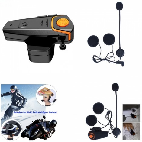 BT-S2 1000m Waterproof Wireless Bluetooth Intercom FM Radio Interphone for Motorcycle Helmet Orange & Black EU Plug
