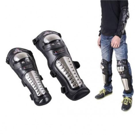 MadBike MB 4pcs Motorcycle Elbow Knee Pads Armor Protective Guard Kit Black & Silver