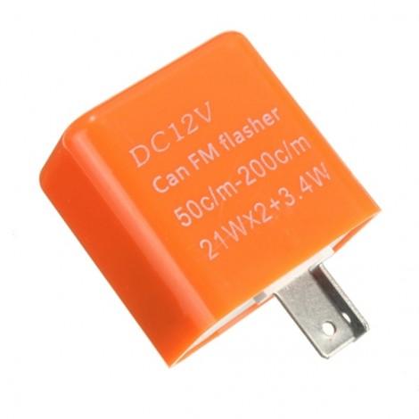 2-pin Adjustable Speed Turn Signal LED Flasher Relay for Motorcycle LED Indicator Light Orange