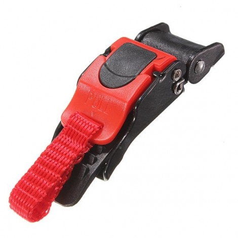 Motorcycle Helmet Clip Chin Strap Quick Release Buckle Black & Red