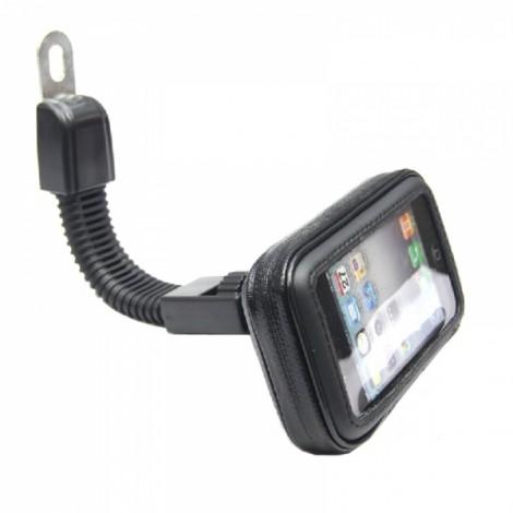 Motorcycle Phone Holder Rearview Mirror Mount Mobile Phone Case Bag Black S