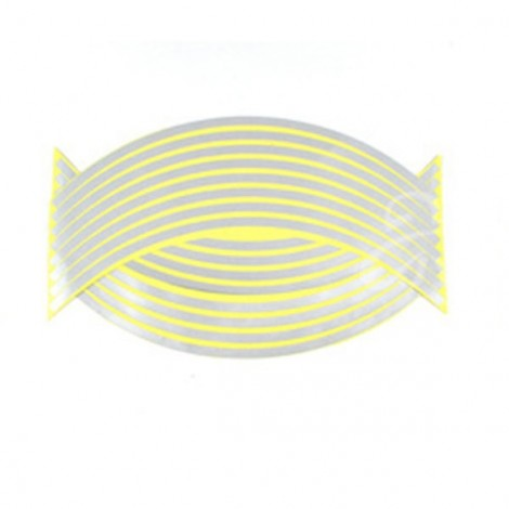 "16pcs 18"" Motorcycle Styling Wheel Hub Rim Stripe Reflective Decal Stickers Silver"