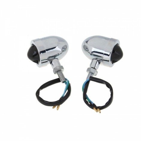 2pcs Motorcycle Turn Signal Bullet Amber Lights Indicator Blinker Silver & Black