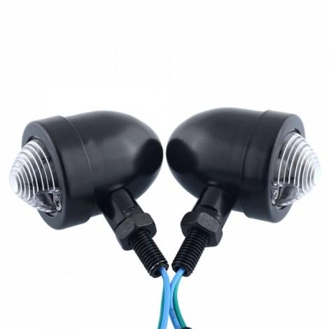 2pcs Motorcycle Turn Signal Bullet Amber Lights Indicator Blinker Black & White