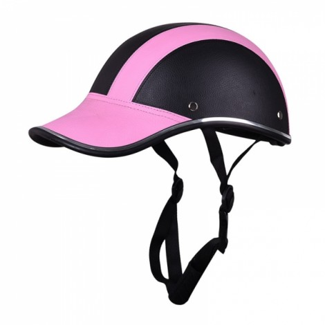Motorcycle Anti-UV Helmet Baseball Cap Style Plaid Safety Half Helmet Black & Pink