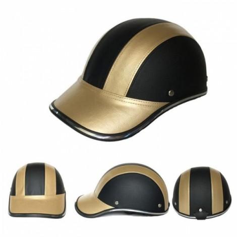 Motorcycle Anti-UV Helmet Baseball Cap Style Plaid Safety Half Helmet Black & Golden