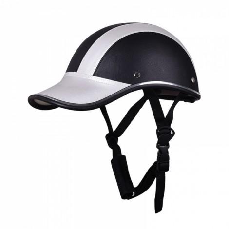 Motorcycle Anti-UV Helmet Baseball Cap Style Plaid Safety Half Helmet Black & Silver
