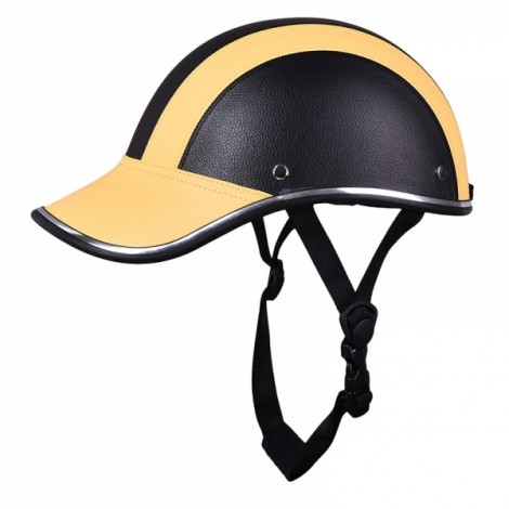 Motorcycle Anti-UV Helmet Baseball Cap Style Plaid Safety Half Helmet Black & Yellow
