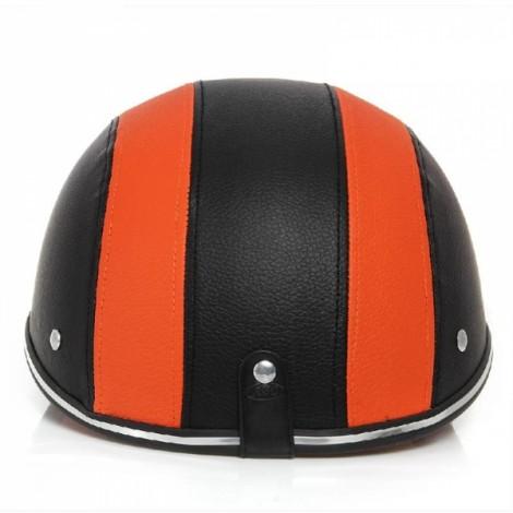 Motorcycle Anti-UV Helmet Baseball Cap Style Plaid Safety Half Helmet Black & Orange