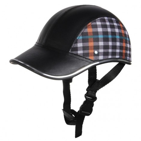 Motorcycle Anti-UV Helmet Baseball Cap Style Plaid Safety Half Helmet Black & Grid