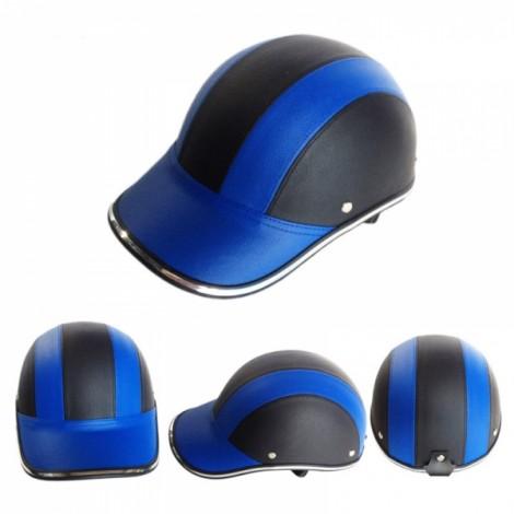 Motorcycle Anti-UV Helmet Baseball Cap Style Plaid Safety Half Helmet Black & Blue