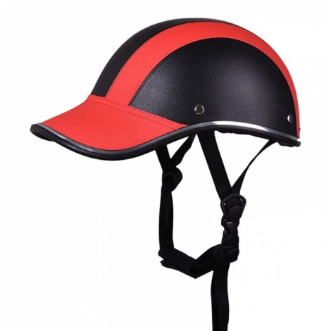Motorcycle Anti-UV Helmet Baseball Cap Style Plaid Safety Half Helmet Black & Red