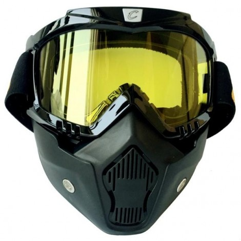 CYCLEGEAR Motorcycle Windproof Dustproof Helmet Goggles Set with Removable Mask Yellow