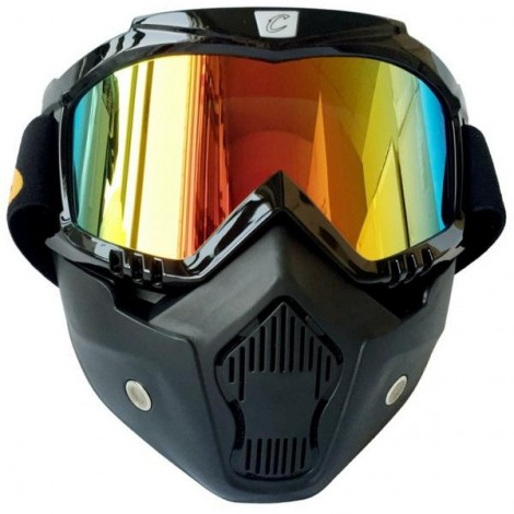CYCLEGEAR Motorcycle Windproof Dustproof Helmet Goggles Set with Removable Mask Colorful